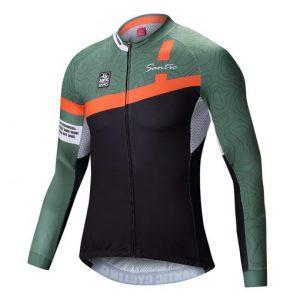 חולצת רכיבה ארוכה קייצית ירוקה SANTIC