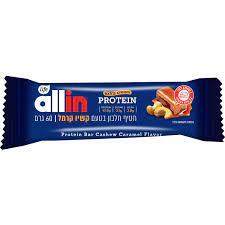 חטיף חלבון וסיבים בטעם קשיו קרמל 60 גרם  ALLIN