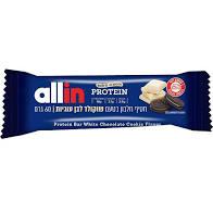 חטיף חלבון וסיבים בטעם שוקולד לבן עוגיות 60 גרם  ALLIN